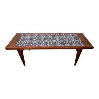 Stunning Rosewood and Painted Tile Table
