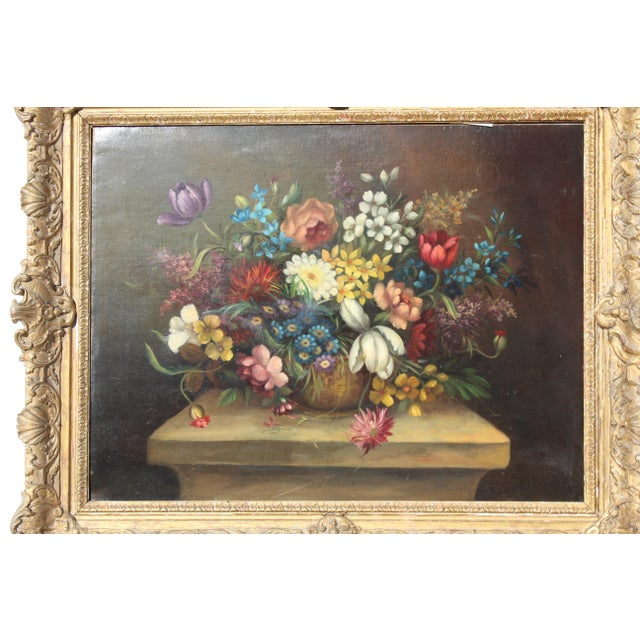 Wood 20th Century Italian Floral Painting For Sale - Image 7 of 10