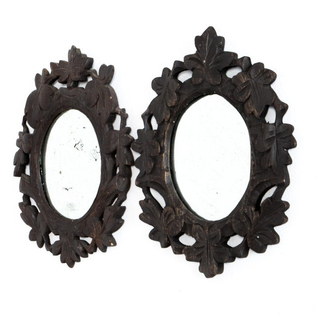Rustic European 1920s Black Forest Mirrors - a Pair For Sale - Image 3 of 5