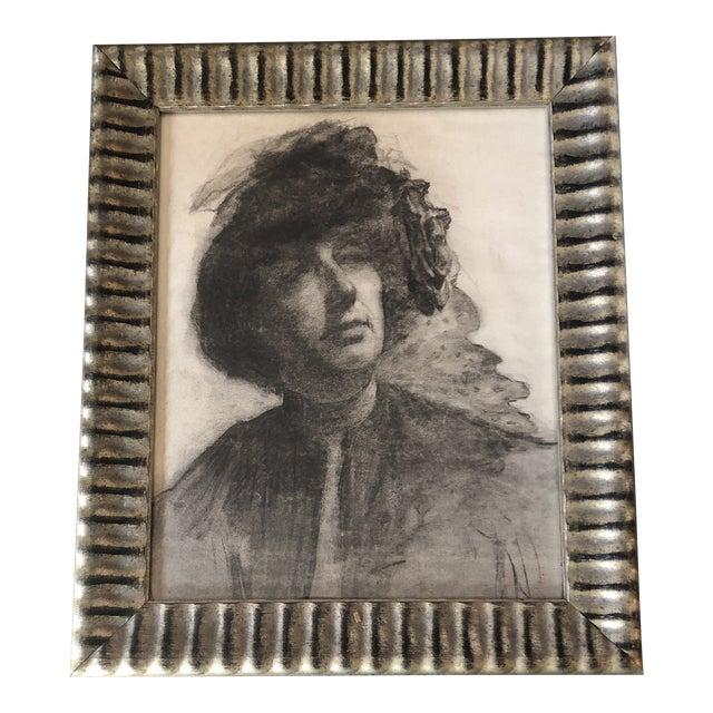 Original Vintage Charcoal Female Portrait Drawing Art Deco 1930's Framed For Sale