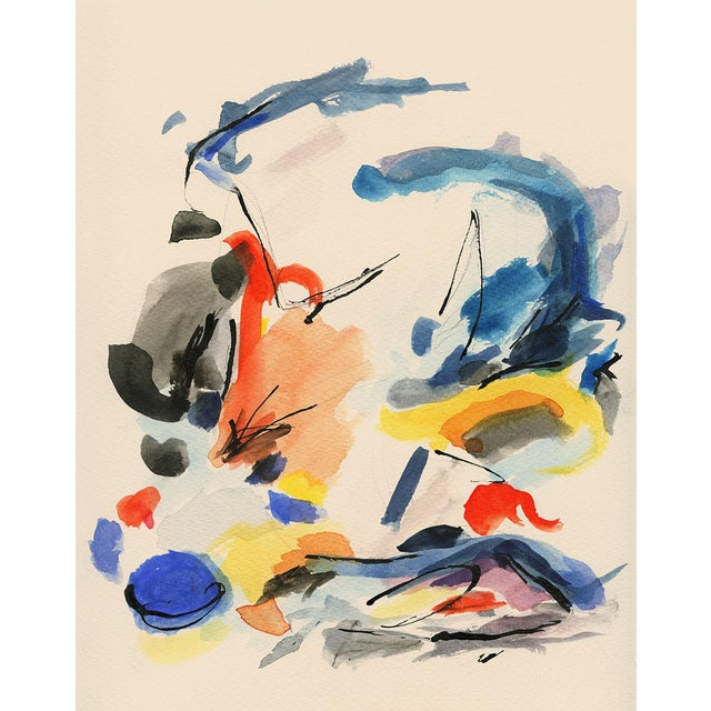 Mid-Century Modern Colorful Print With Primary Colors - Unframed Giclée on Watercolor Paper For Sale