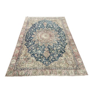 Oversized Hand Knotted Blue, Rose and Beige Oushak Rug For Sale