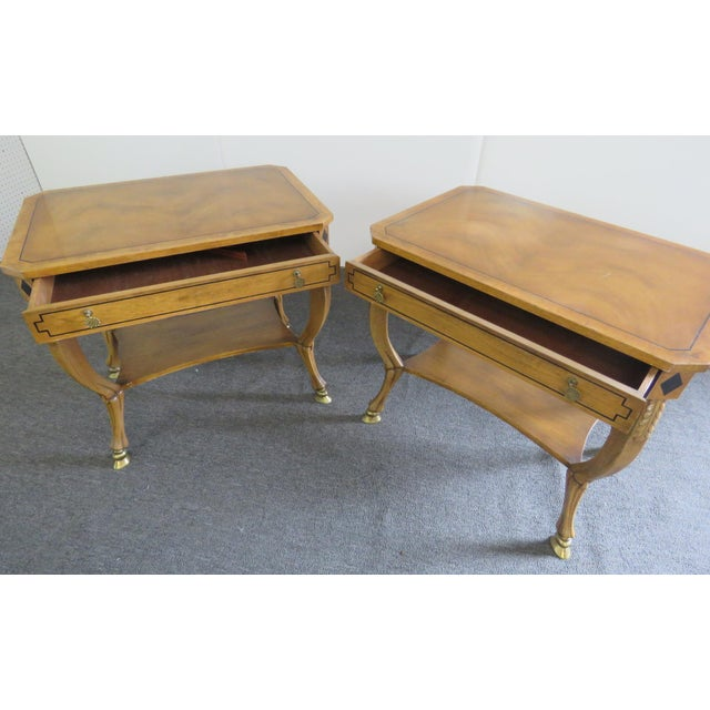 Brass Pair of Regency Style End Tables For Sale - Image 7 of 13