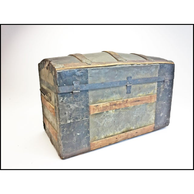 Rustic Vintage Rustic Wood Camelback Steamer Trunk For Sale - Image 3 of 13