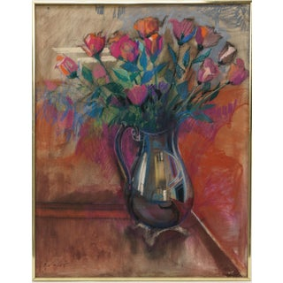 """Roses"" Oil Pastel Painting on Linen Canvas Featured in March 1985 Artists Magazine (2 Included) by John Elliot (1925-2018) For Sale"