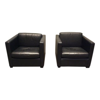 Knoll Pfister Lounge Chairs in Black Leather - A Pair