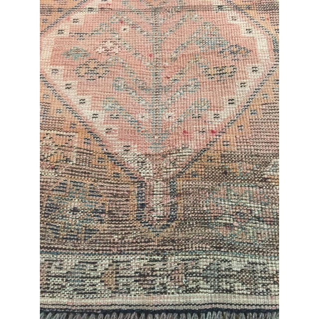 Pink 1970s Vintage Shiraz Brown and Rose Pink Rug - 3′8″ × 7′6″ For Sale - Image 8 of 9