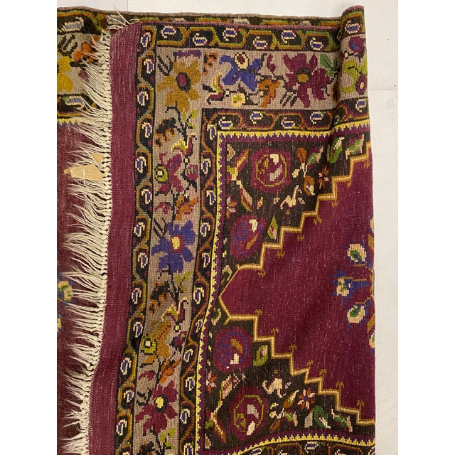 Tehranian Hand Woven Purple Floral Wool Rug For Sale - Image 4 of 9