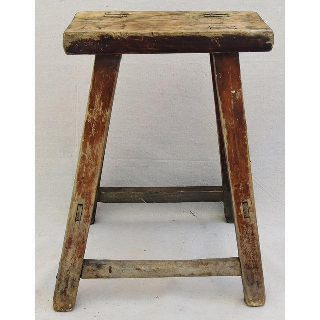 Rustic Primitive Country Wood Farmhouse Stool - Image 9 of 11