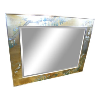Large La Barge Eglomise Gold Beveled Mirror For Sale