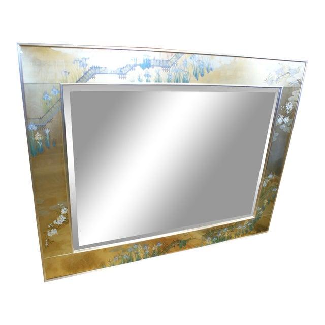 Large La Barge Eglomise Gold Beveled Mirror For Sale