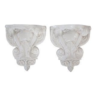 Large White Glazed Porcelain Wall Brackets Corbels, a Pair For Sale