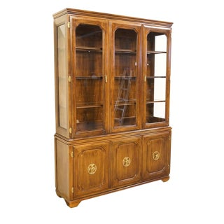 Davis Cabinet Co. Solid Walnut Asian Style Lighted China Cabinet For Sale