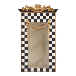Black & White Tile Mirror With Gilded Carving