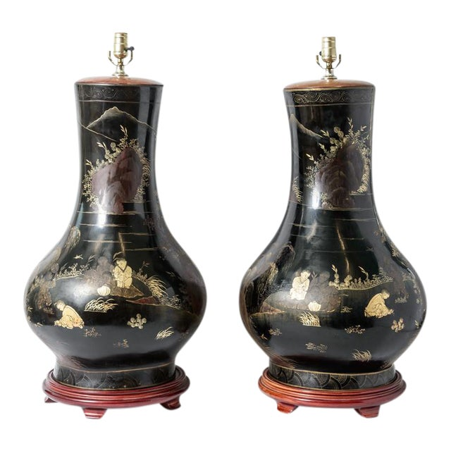 Pair of Antique Huge Chinoiserie Lacquer Urn Lamps C.1870-1890 For Sale