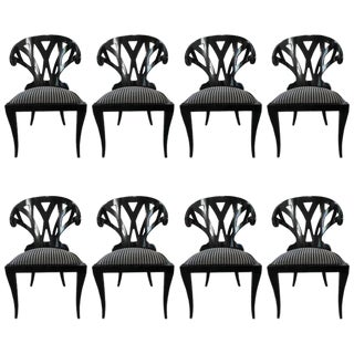 Pietro Costantini Black Lacquer Dining Chairs - Set of 8