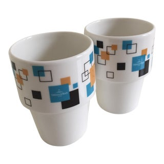 Villeroy & Boch Affinity White Porcelain Unhandled Stackable Mugs - A Pair