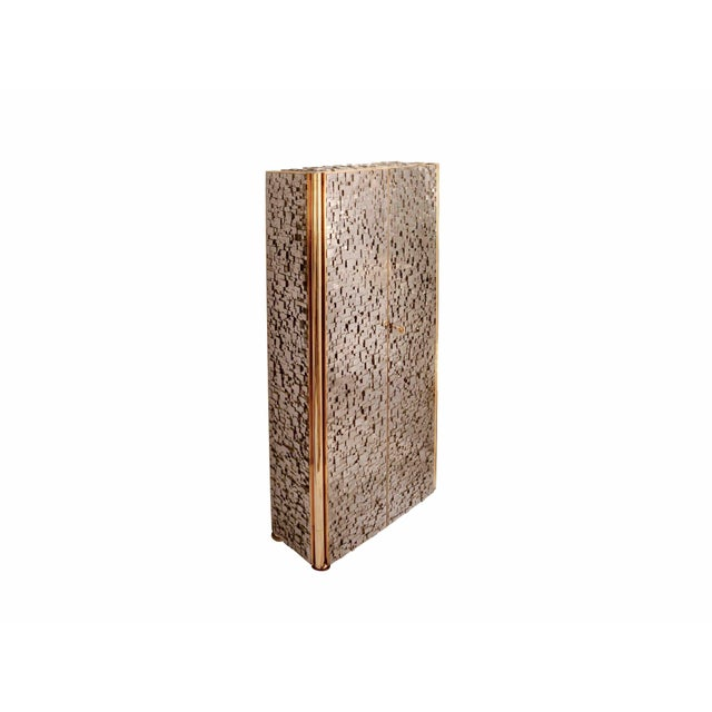 KAM TIN Tall pyrite cabinet Cabinet covered of natural iron pyrite, on wood structure, with patinated brass The iron...
