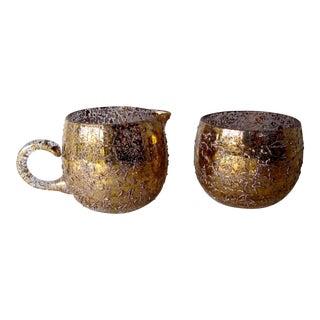 Vintage Gold Flecked West Virginia Glass Works Creamer and Sugar Set For Sale