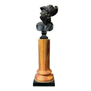 20th Century Grand Tour Marbleized Column With Roman Warrior Bust For Sale