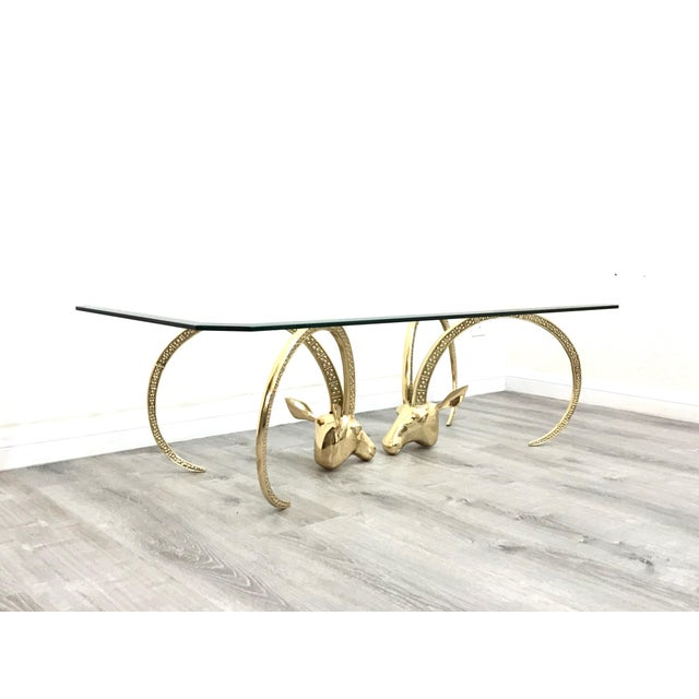 1970s Polished Brass Ibex Ram's Head Glass Top Coffee Table For Sale - Image 5 of 10