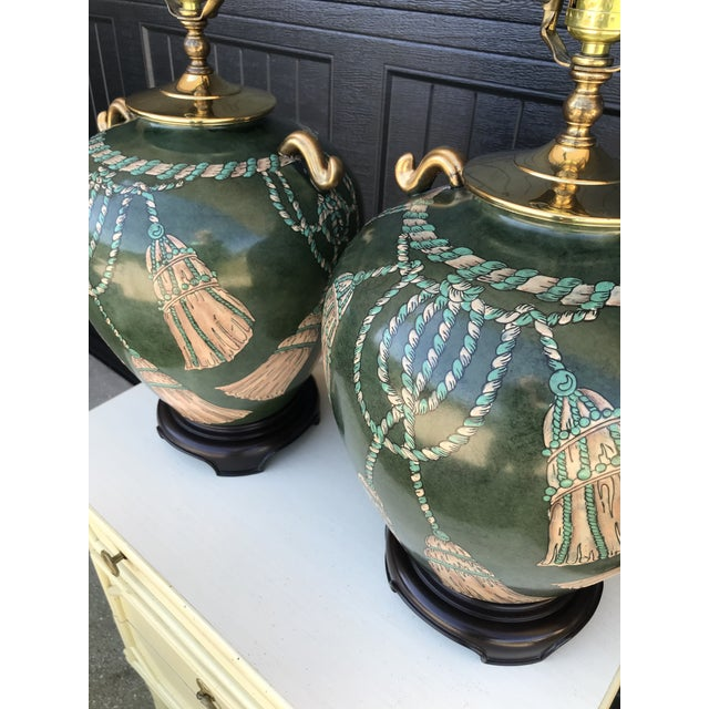 Dark Green Vintage Hand Painted Tassel and Rope Lamps-A Pair For Sale - Image 8 of 13