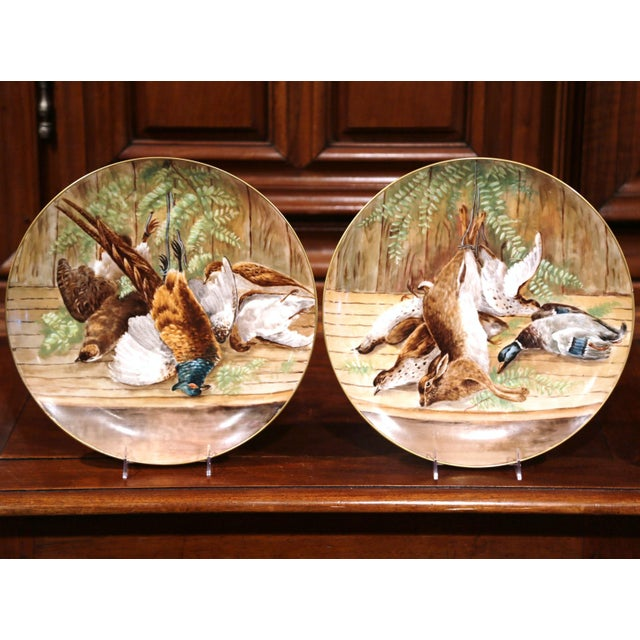 19th Century French Hand-Painted Porcelain Hunting Scenes Wall Platters - a Pair For Sale - Image 11 of 11