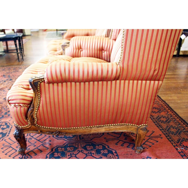 Brick Red C. 1900 French Louis XV Bergere Chairs - a Pair For Sale - Image 8 of 10