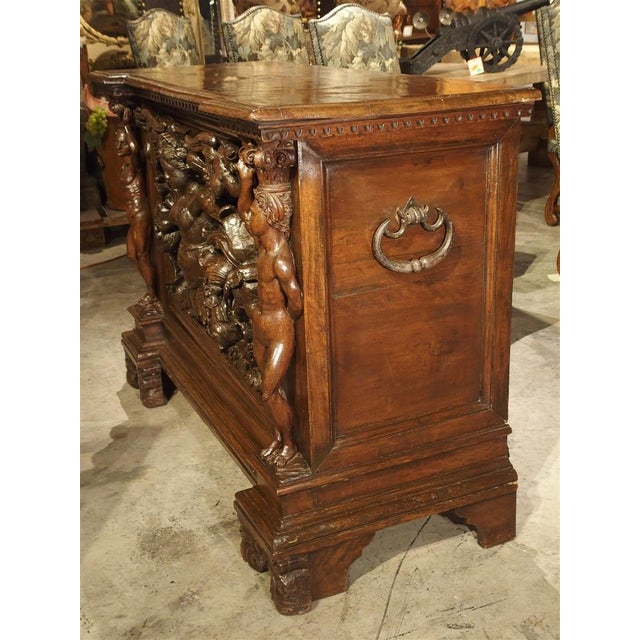 Metal Antique Italian Walnut Wood Buffet / Credenza From Rome, 19th Century For Sale - Image 7 of 13