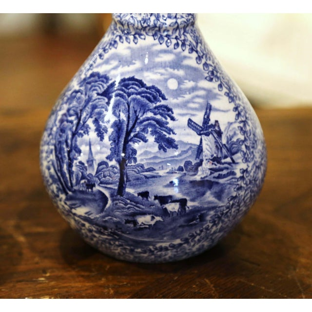 Early 20th Century English Blue and White Painted Faience Delft Vases - a Pair For Sale - Image 4 of 11