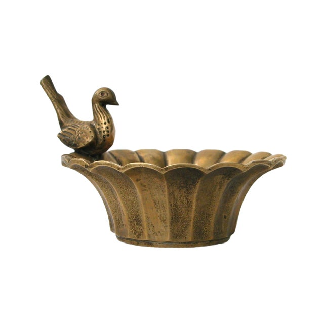 Vintage Brass Bowl with Bird - Image 1 of 8