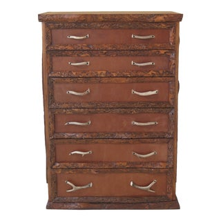 1990s Adirondack Style 6 Drawer High Chest For Sale