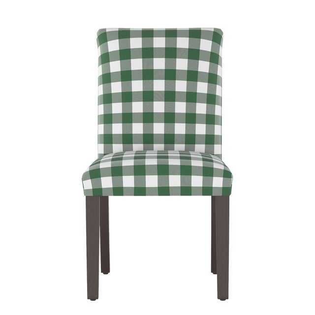 Dining Chair in Classic Gingham Evergreen Oga For Sale