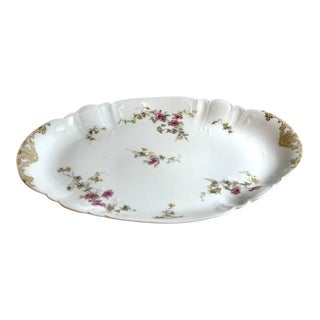 Antique French Limoges Hand Painted Platter With Gold Trim For Sale