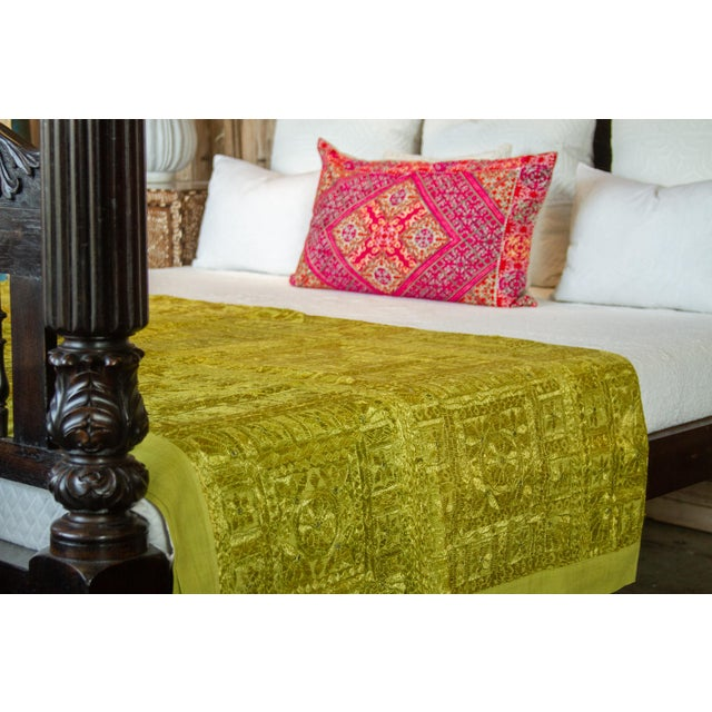 Indian Green Sheesha Coverlet For Sale - Image 3 of 8