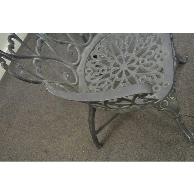 Metal Vintage Cast Aluminum Heart Back French Style Patio Chairs - Set of 4 For Sale - Image 7 of 11