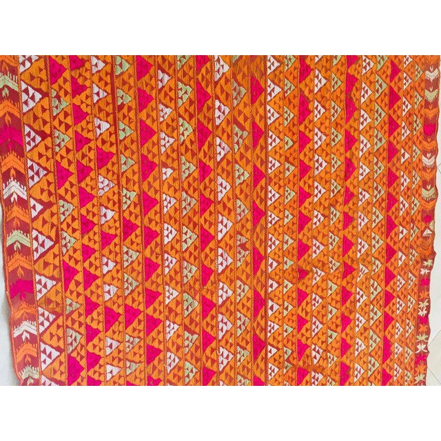 A rare pattern embroidered in silk on a hand loomed cotton background. Punjab is known for its Phulkaris. The embroidery...