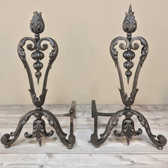 Neoclassical 19th Century Wrought Iron Andiron & Firebox Set For Sale - Image 3 of 12