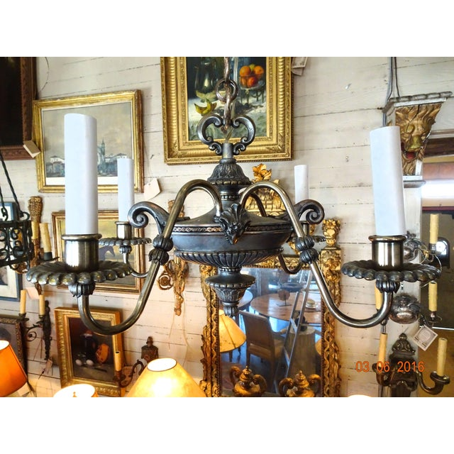Small French 19th Century Pewter Chandelier For Sale - Image 11 of 11