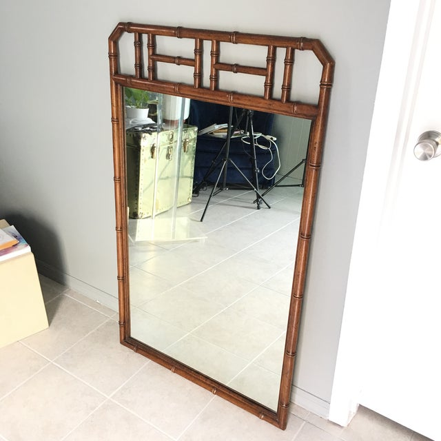 Mid Century Faux Bamboo Wall Mirror For Sale In New York - Image 6 of 6