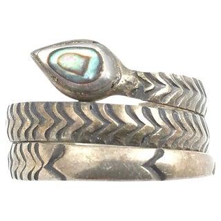 Sterling & Abolone Shell Snake Ring For Sale