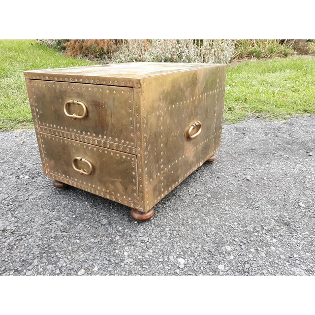 1980s Mid-Century Modern Sarreid Brass Chest of Drawers For Sale - Image 13 of 13