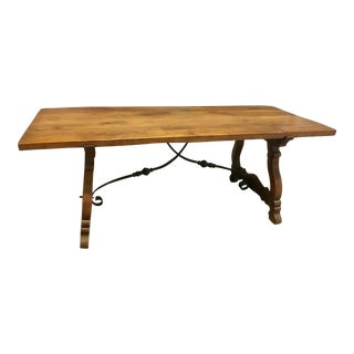 Spanish Colonial Style Wrought Iron Trestle Dining Table