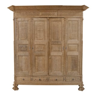 Antique Belgian Bleached Oak Cabinet, C.1900 For Sale