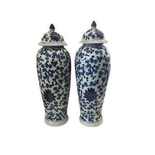 "Tall B&w Chinoiserie Porcelain Ginger Jars - a Pair 23"" H For Sale"