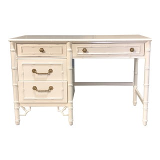 White Faux Bamboo Desk