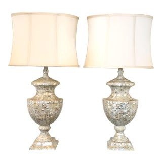 Jamie Young Mother of Pearl Urn Lamps With Silk Shades - a Pair For Sale
