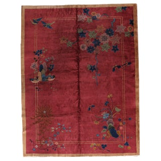 1920s Antique Art Deco Chinese Rug - 8′10″ × 11′8″ For Sale