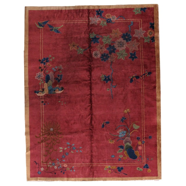 1920s Antique Art Deco Chinese Rug - 8′10″ × 11′8″ - Image 1 of 8