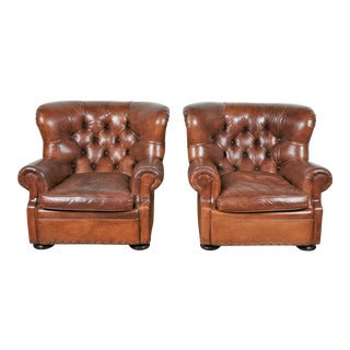 """Vintage Ralph Lauren """"Writers"""" Pair of Leather Chairs For Sale"""